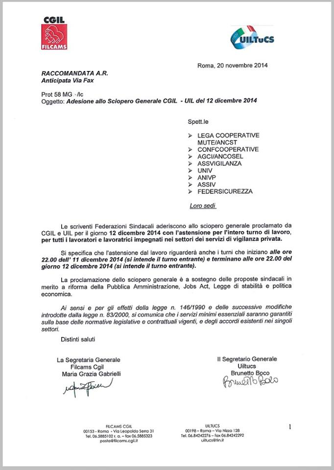 12 dicembre 2014 sciopero generale